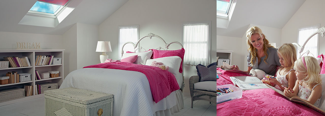 bedroom skylights with pink blinds