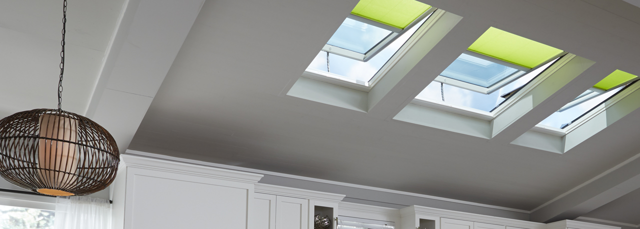 Velux electric fresh air skylight curb or deck mounted for Electric skylight shades motorized blinds