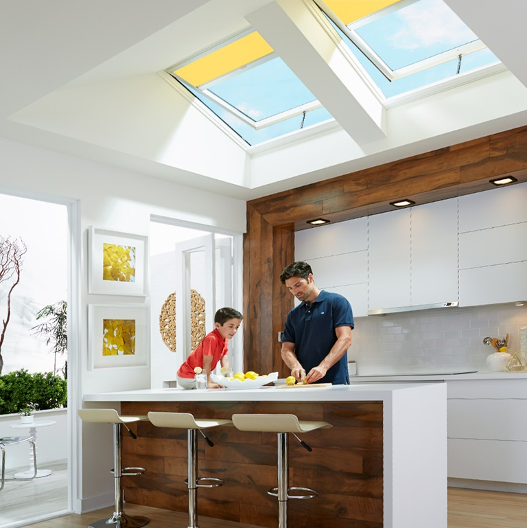 Skylight blinds kitchen