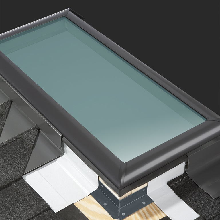 In System Skylights : Velux skylight flashing systems for roofs deck and curb